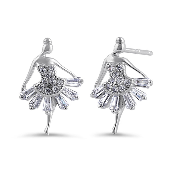 Sterling Silver Clear CZ Ballerina Stud Earrings