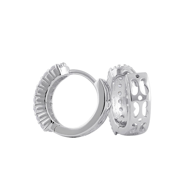 Sterling Silver 10mm x 4.5mm Clear CZ Hoop Earrings