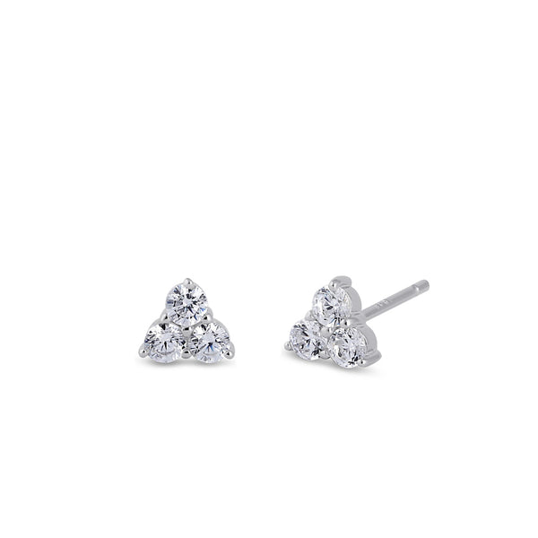 Sterling Silver Clear CZ Triple Circle Earrings