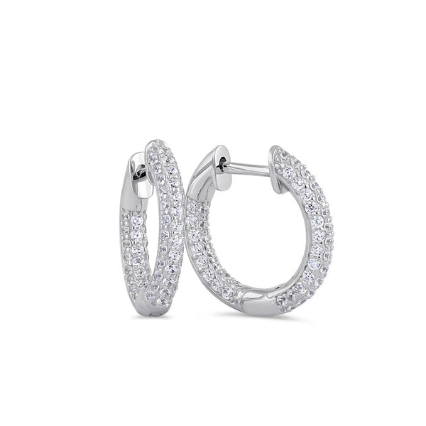 Sterling Silver 12mm x 2.6mm Clear CZ Thin Cluster Hoop Earrings