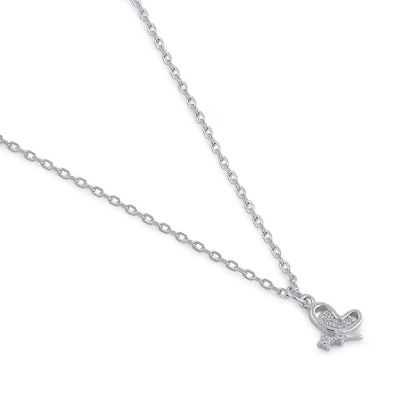 Sterling Silver Clear CZ Dainty Butterfly Necklace