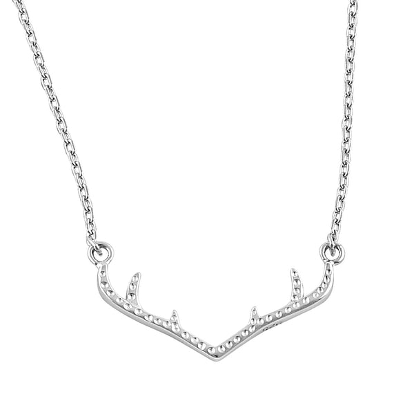 Sterling Silver Dainty Antlers Necklace