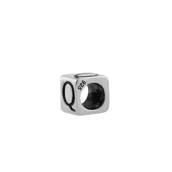 Sterling Silver 4.5mm Letter Q Cube Pendant