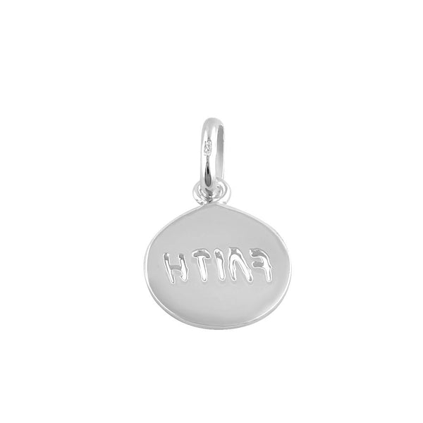 Sterling Silver Round Faith Pendant