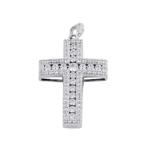 Sterling Silver Clear CZ Large Cross Pendant