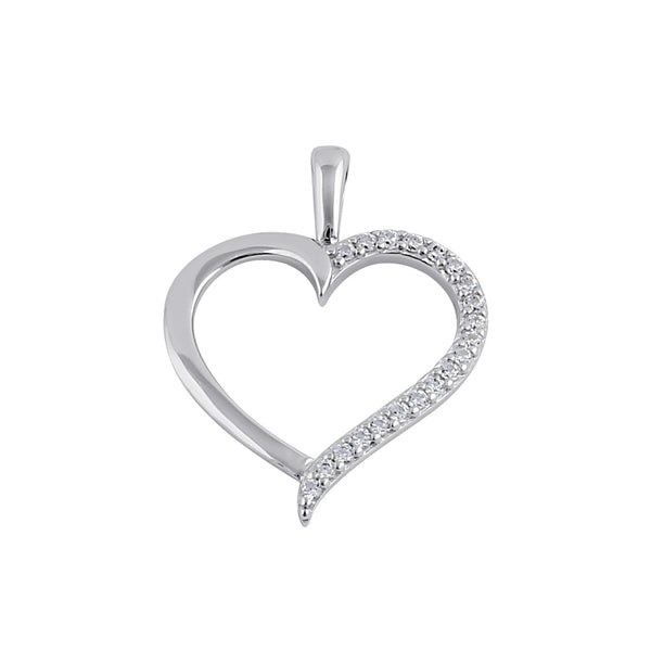 Sterling Silver Half Clear CZ Heart Pendant