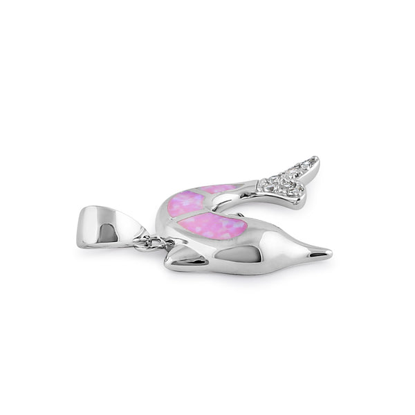 Sterling Silver Pink Lab Opal Dolphin CZ Pendant