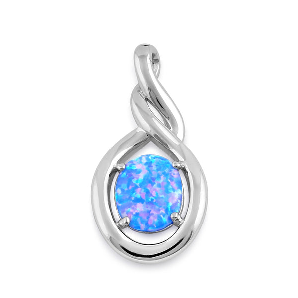 Sterling Silver Blue Lavender Lab Opal Oval Twist Pendant