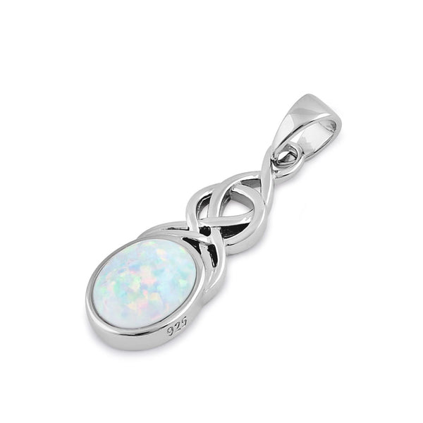 Sterling Silver White Lab Opal Celtic Twist and Oval Pendant