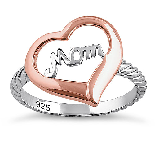 Sterling Silver Two Tone Rose Gold Plated Mom Heart Ring
