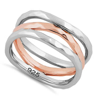 Sterling Silver Two Tone Rose Gold Plated 3 Wavy Hammered Ring