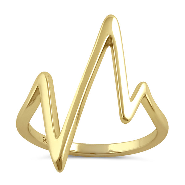 Sterling Silver Yellow Gold Plated Heartbeat Ring