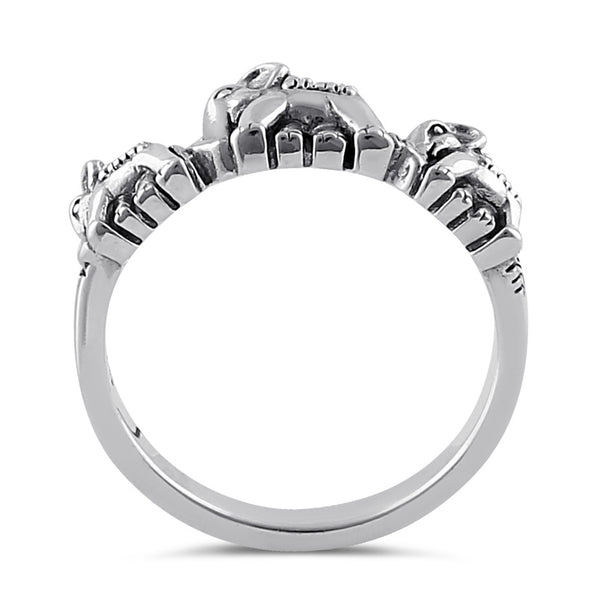 Sterling Silver Triple Elephant Marcasite Ring