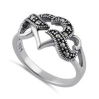 Sterling Silver Triple Heart Marcasite Ring