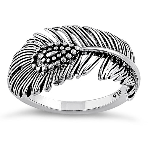 Sterling Silver Peacock Feather Ring