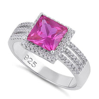 Sterling Silver Ruby Princess Cut CZ Ring