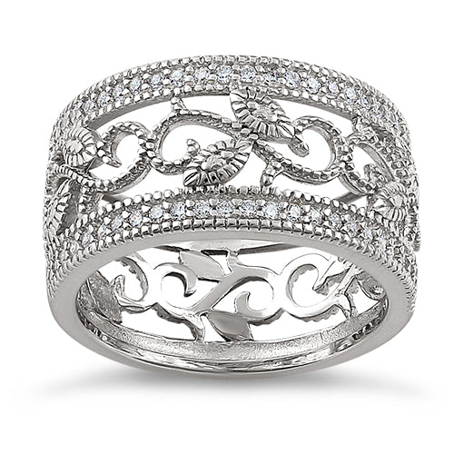 Sterling Silver Vine Cage Pave CZ Ring