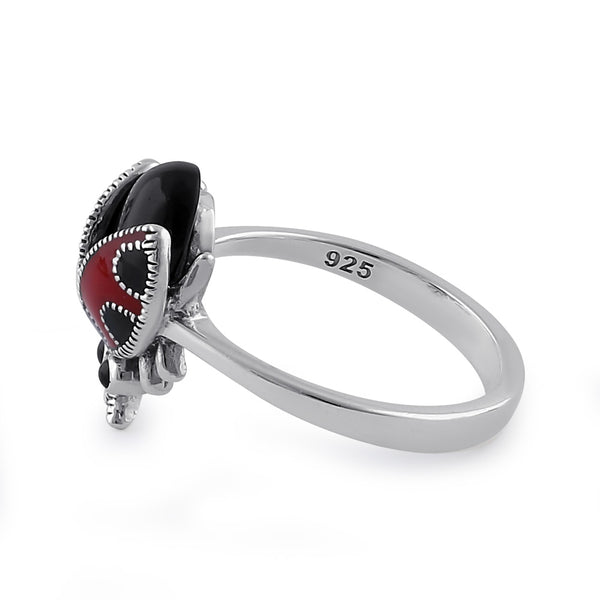 Sterling Silver Black Onyx and Enamel Ladybug Marcasite Ring