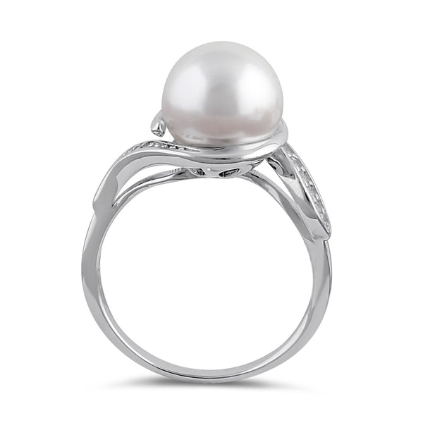 Sterling Silver Pearl and Clear CZ Ring