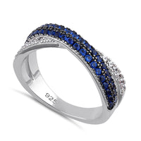 Sterling Silver Blue Spinel and Clear CZ Crossover Ring