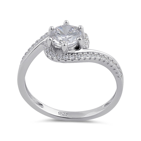 Sterling Silver Clear CZ Circular Engagement Ring