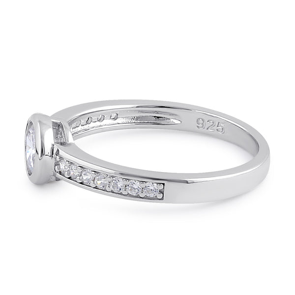 Sterling Silver Clear CZ Round Engagement Ring