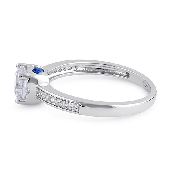 Sterling Silver Clear and Spinel CZ Engagment Ring
