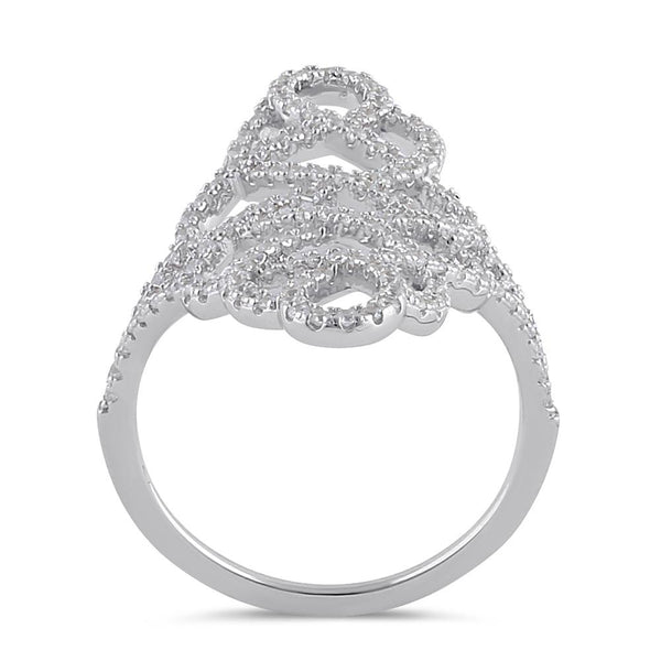 Sterling Silver Figure 8 Extravagant Clear CZ Ring