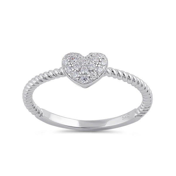 Sterling Silver Clear CZ Rope and Heart Ring