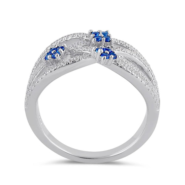 Sterling Silver Blue Spinel and Clear CZ Twisted Flower Ring