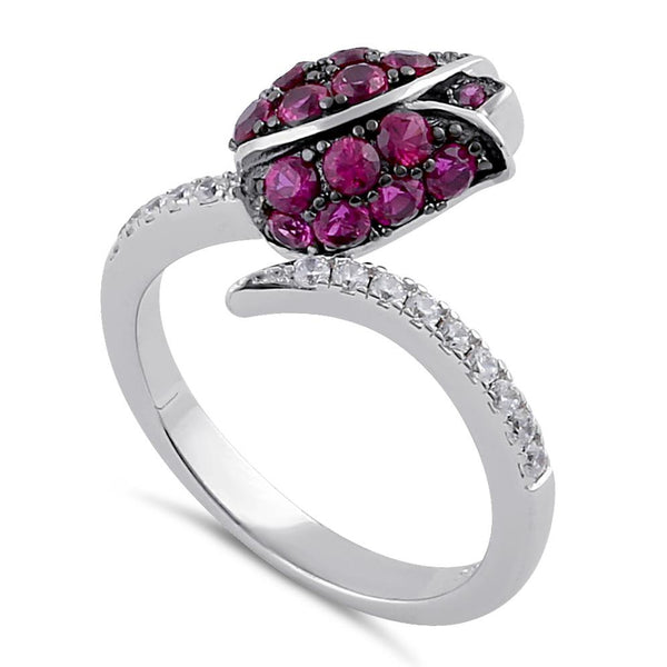 Sterling Silver Ruby and Clear CZ Rose Ring