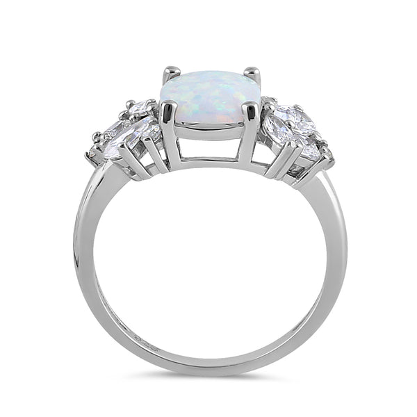 Sterling Silver Elegant Squoval White Lab Opal with Clear CZ Ring