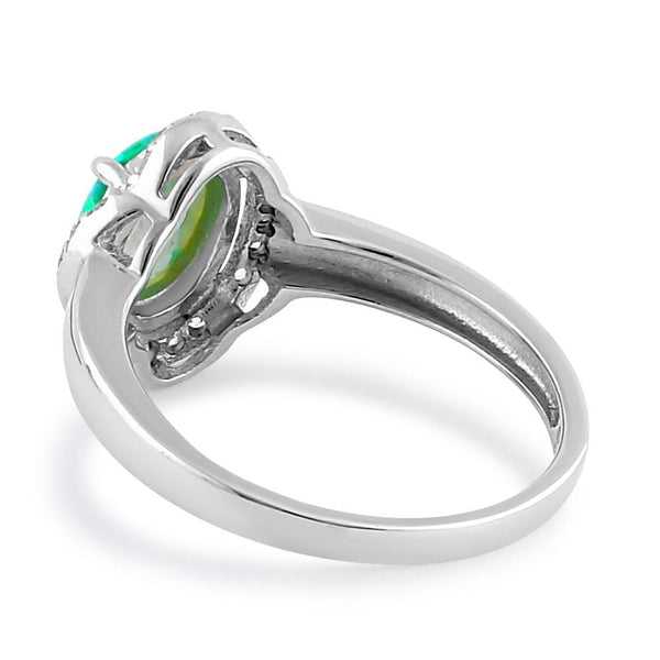 Sterling Silver Elegant Green Lab Opal Oval Flower Halo CZ Ring