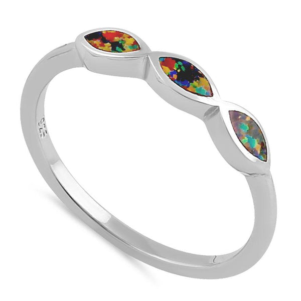 Sterling Silver Triple Marquise Black Lab Opal Ring