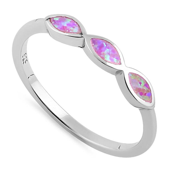Sterling Silver Triple Marquise Pink Lab Opal Ring