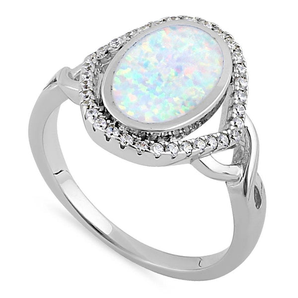 Sterling Silver White Lab Opal Oval Halo CZ Ring