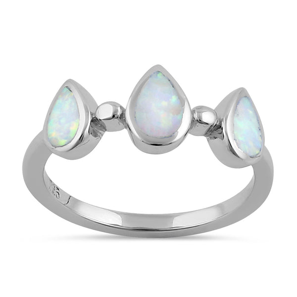 Sterling Silver White Lab Opal Pear Dropletes Ring