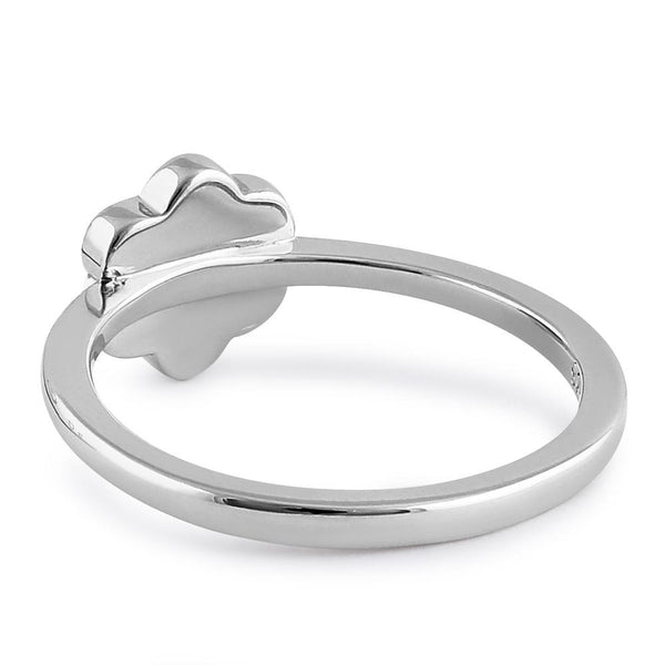 Sterling Silver White Lab Opal Leaflet Flower Ring