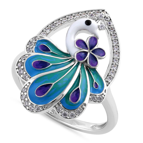 Sterling Silver Hand-Painted Multi-Colored Peacock Clear CZ Ring