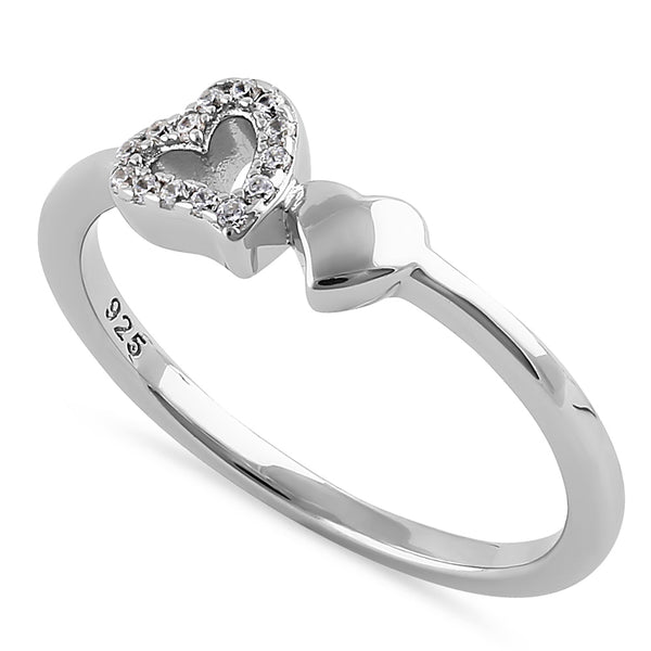 Sterling Silver Dainty Hearts Round Cut Clear CZ Ring