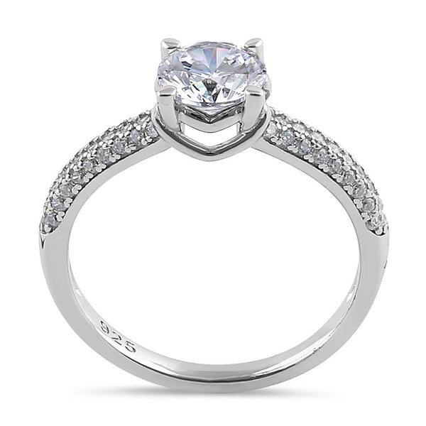 Sterling Silver Elegant Raised Round Cut Clear CZ Engagement Ring