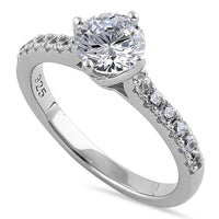 Sterling Silver Simple Classy Round Cut Clear CZ Engagement Ring