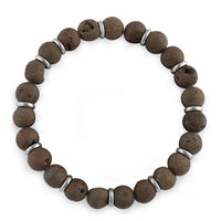 Stainless Steel Brown Druzy Bead Bracelet