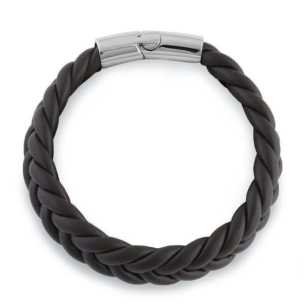 Stainless Steel Brown Leather Twist Bracelet