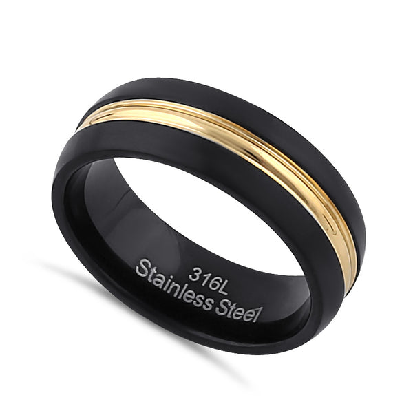 Stainless Steel Men's Black and Yellow Wedding Band