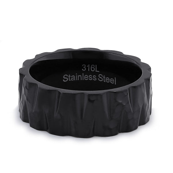 Stainless Steel Men's Black Tire Wedding Band