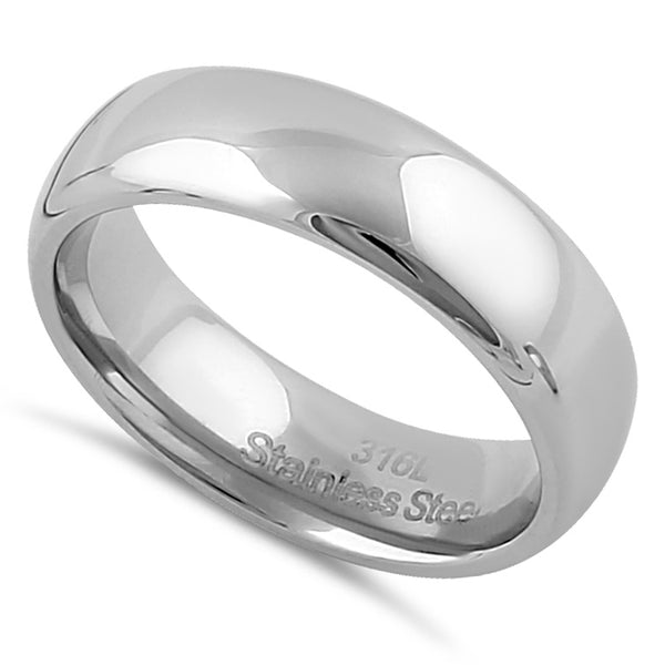 Stainless Steel Men's 6mm Polished Wedding Band