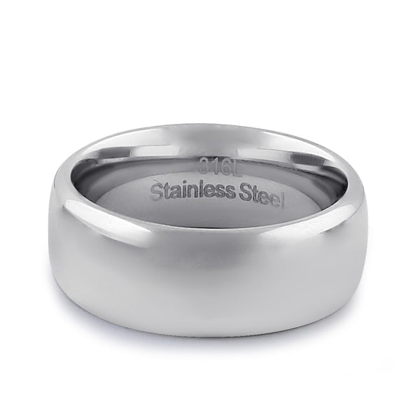 Stainless Steel Men's 8mm Polished Wedding Band