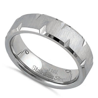 Stainless Steel Men's 6mm Brushed Diamond Cut Wedding Band