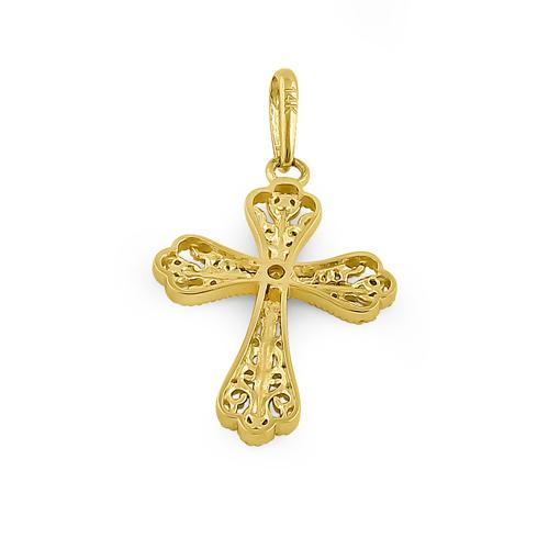 Solid 14K Yellow Gold White Gold Plated Double Vintage Cross CZ Pendant